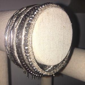 Silver and black beaded wrap bracelet